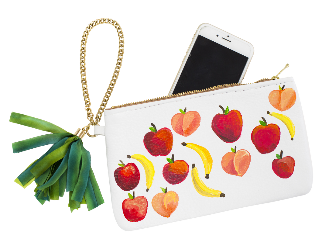 Ltd. Hand Painted Fruits Clutch