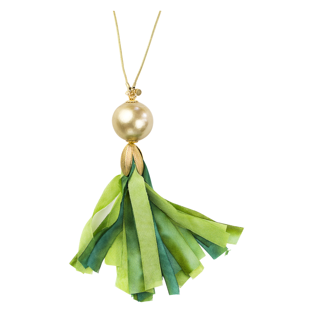 Green Silk Tassel Necklace