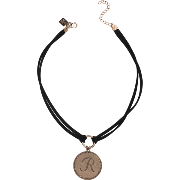 Sorority Gal Initial Choker, Rose Gold/Black