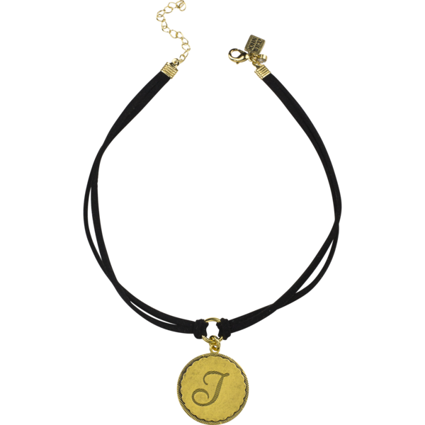 Sorority Gal Initial Choker, Gold/Black