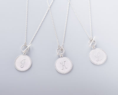 Mini Coin Initial Toggle Necklace, Gold or Silver