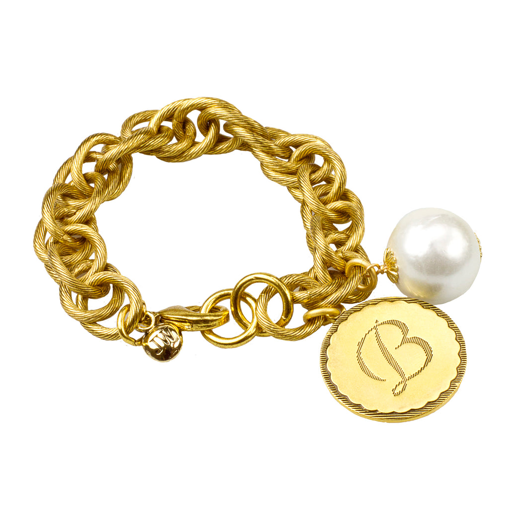 Sorority Gal Cotton Pearl Initial Bracelet, Gold