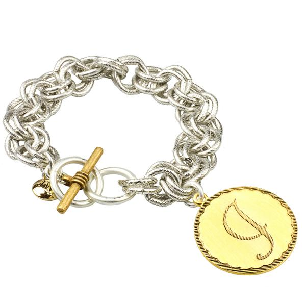 Two Tone Sorority Gal Initial Bracelet