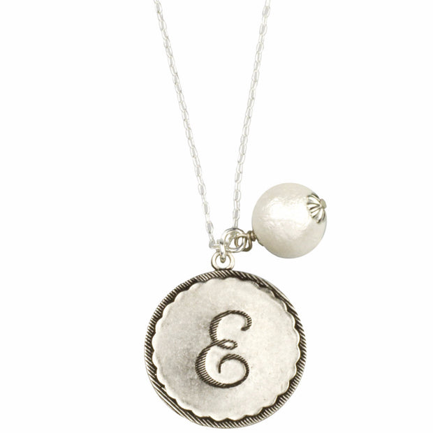Sorority Gal Cotton Pearl Initial Necklace - John Wind Modern Vintage Jewelry - 2
