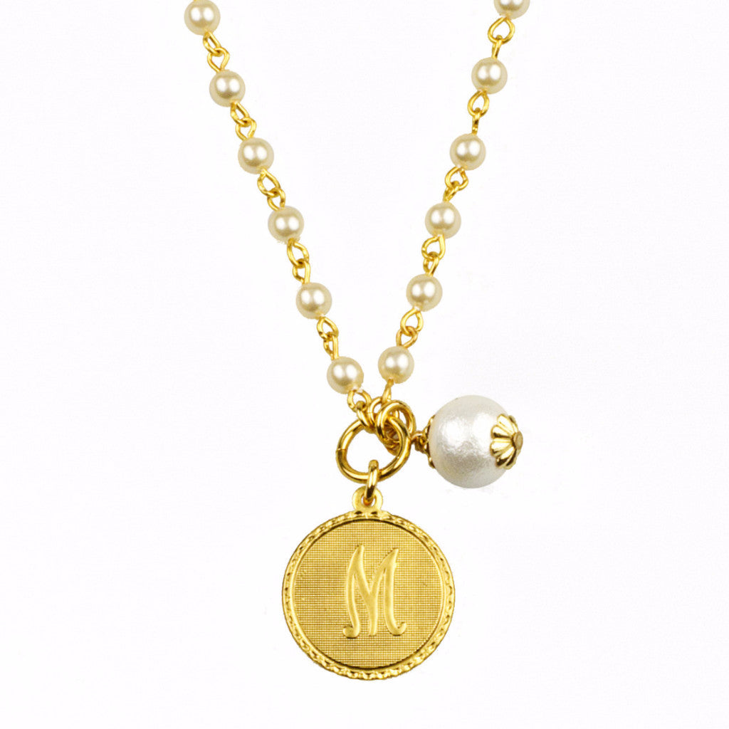 Mini Coin Pearl Initial Necklace - John Wind Modern Vintage Jewelry - 1