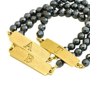 Hematite Stretch ID Bracelet, Gold or Silver