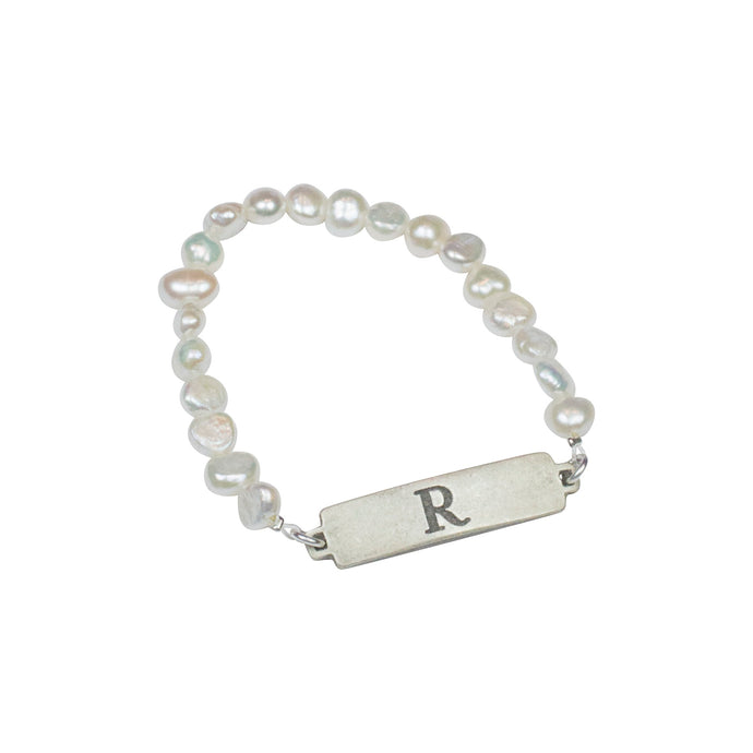 Fresh Water Pearl Stretch ID Bracelet, Silver