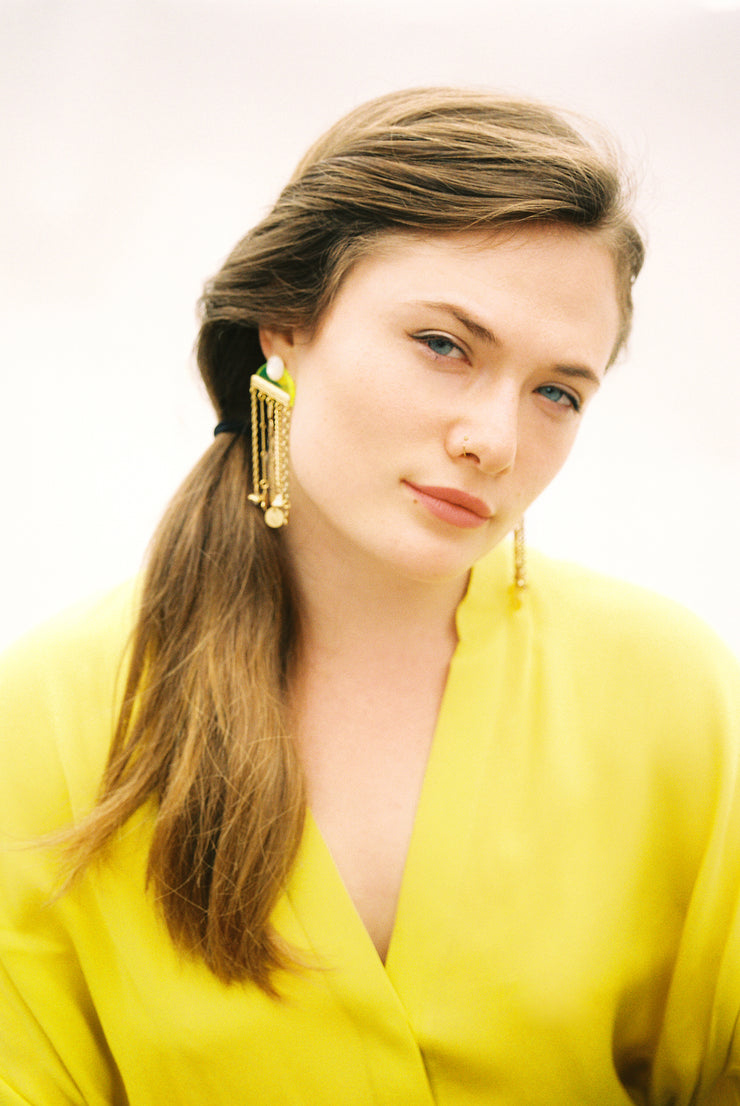 Neon Fringe Earring with Vintage Charms