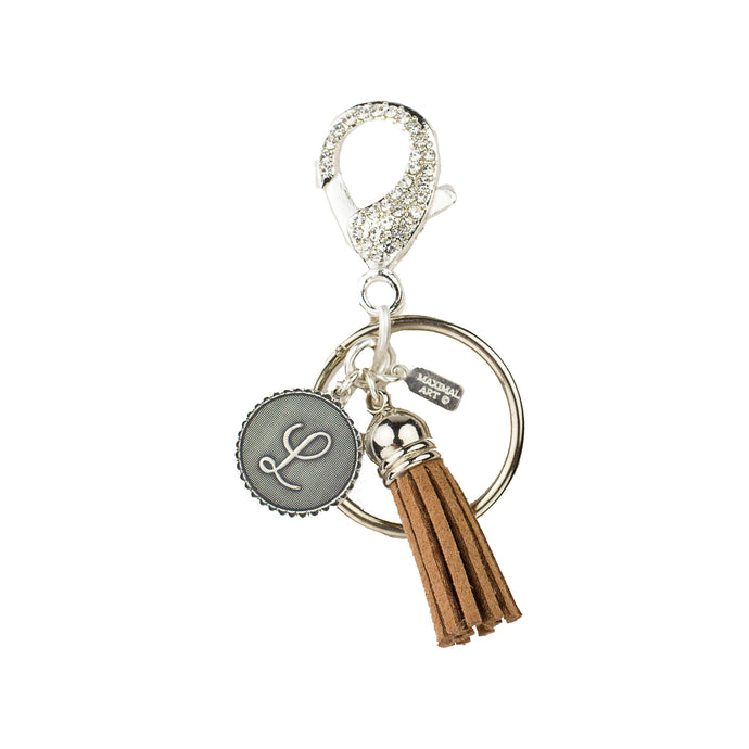 Mini Coin Initial & Pave' Clasp Keychain