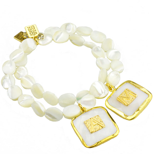 Mother of Pearl Bezel Set Initial Bracelet