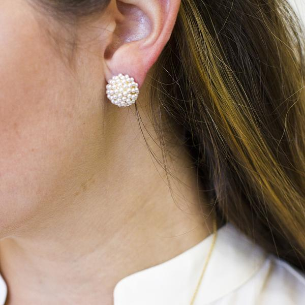 Pavé Pearl Post Earrings