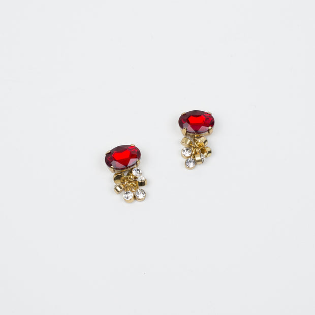 "3/4"" Ruby/Crystal Cluster Earring"