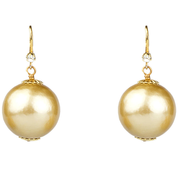 20mm Gold Cotton Pearl Earrings