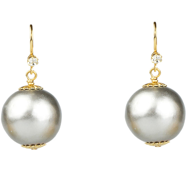 20mm Platinum Cotton Pearl Earrings - John Wind Modern Vintage Jewelry