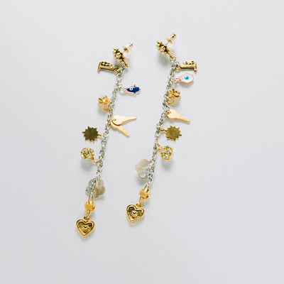 """Charms By The Yard"" Drop Earring, Two-Tone"