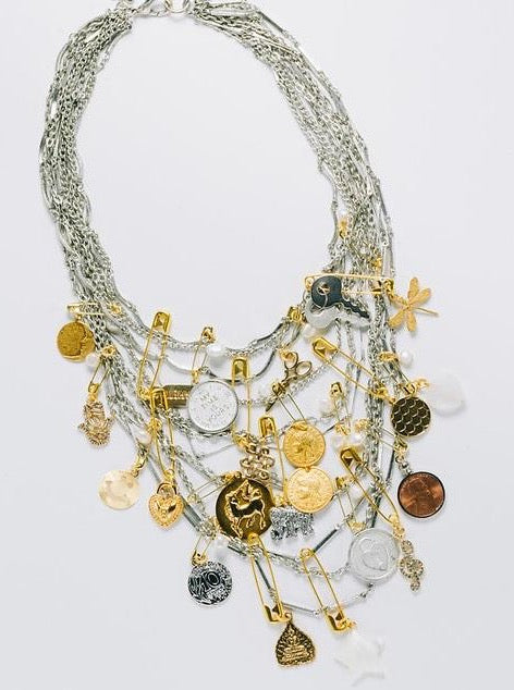 """Punk It Up!"" Statement Necklace, Two-Tone"
