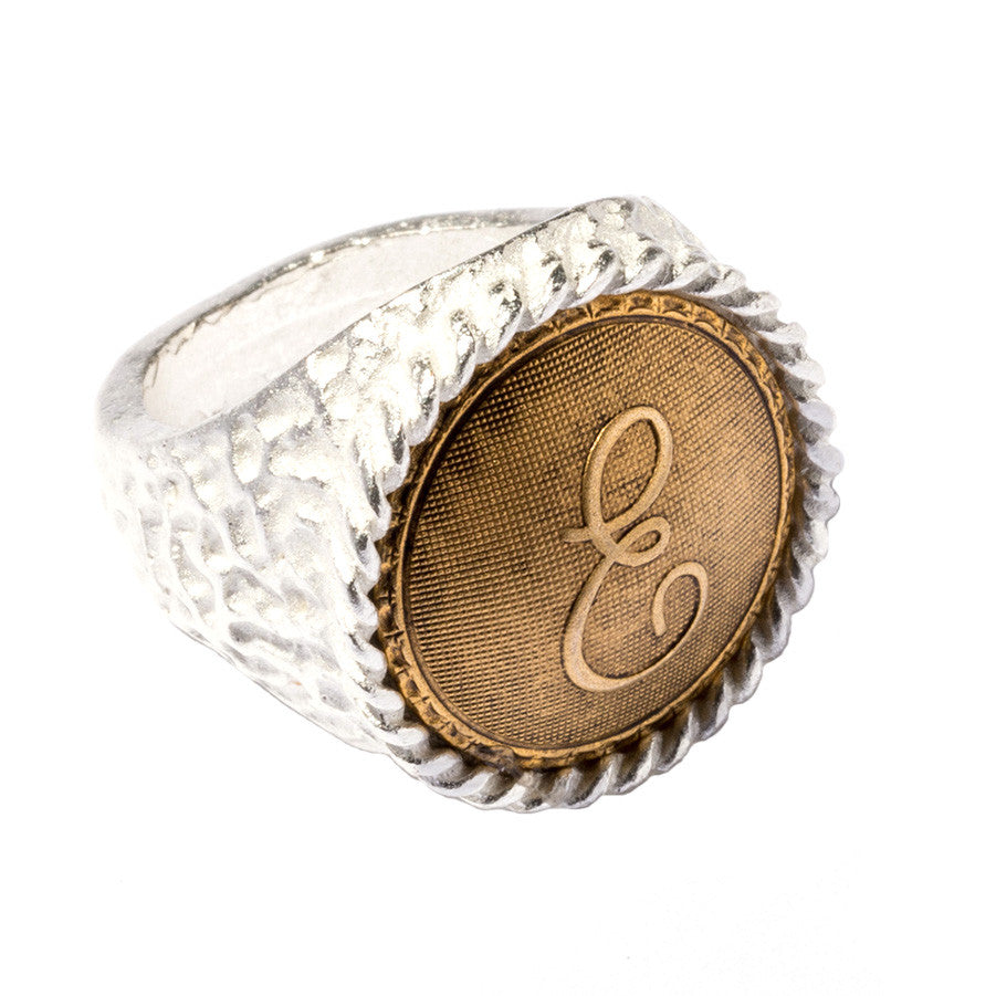 Signet Initial Ring~Two-Tone - John Wind Modern Vintage Jewelry