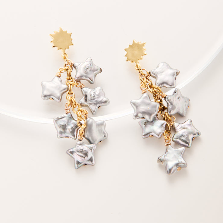 Pearly Stars Cluster Earring
