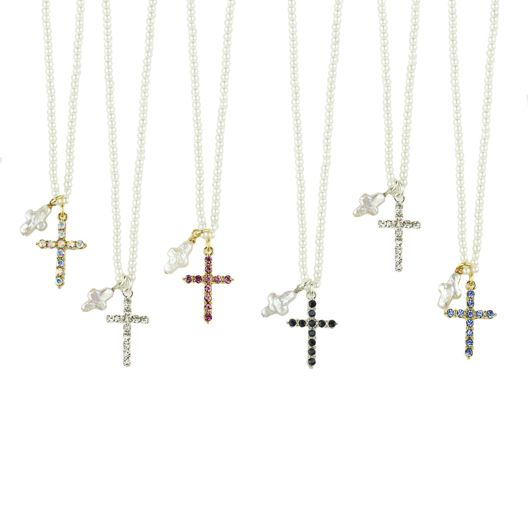 Cross Pearl Necklaces