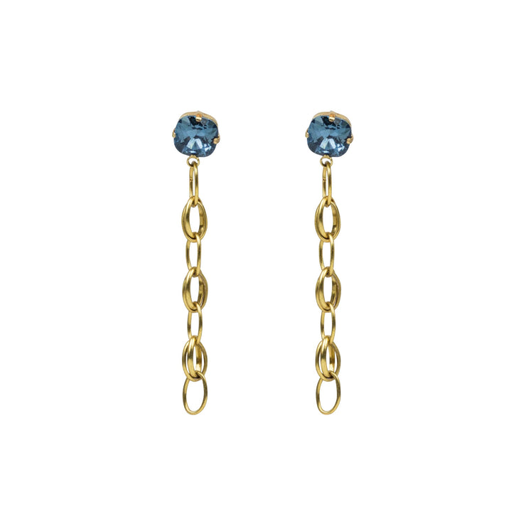 Front-Back Chain & Crystal Post Earring, Denim Blue