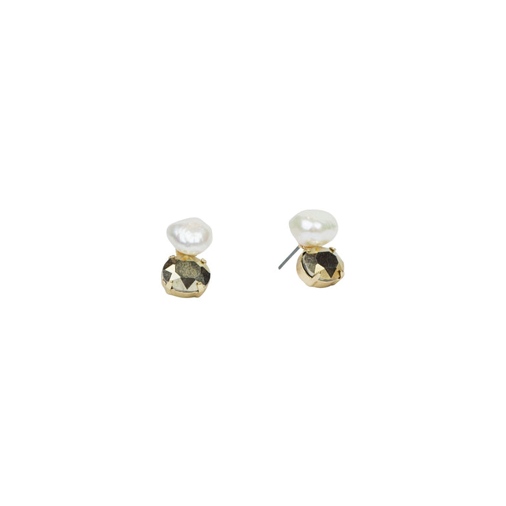 Petite Baroque Pearl and Crystal Post Earring; Rose, Gold & Silver