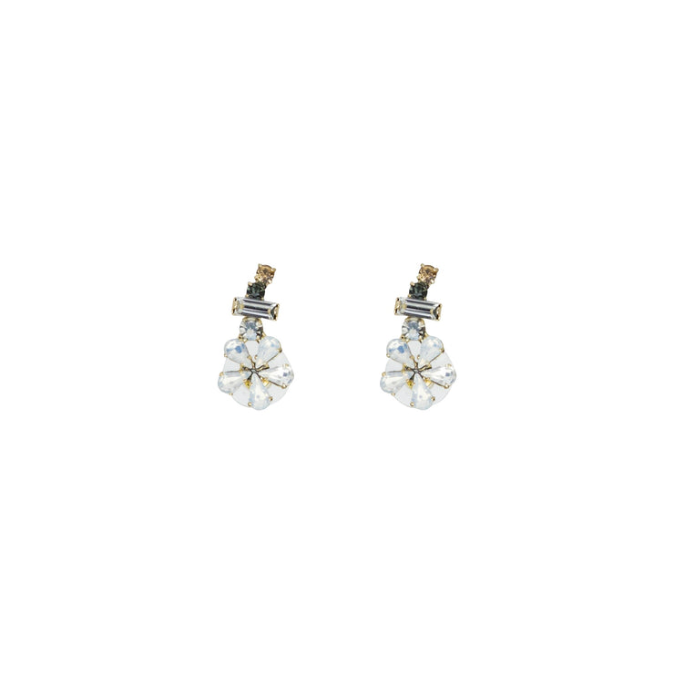 Crystal Flower Earring Climber; Crystal, Rose Gold & Neutral