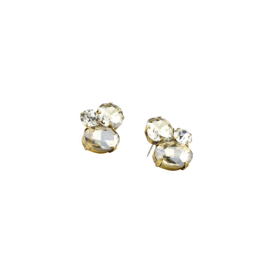 Smokey Crystal Cluster Cocktail Earring - John Wind Modern Vintage Jewelry