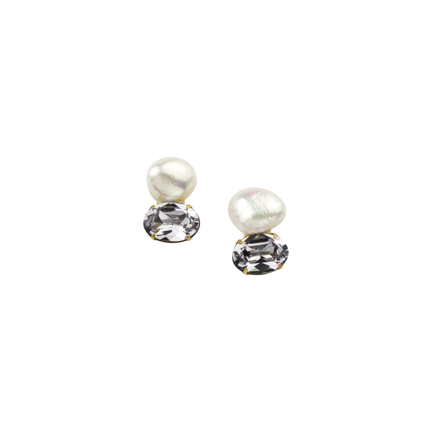 Baroque Pearl & Crystal Post Earring - John Wind Modern Vintage Jewelry