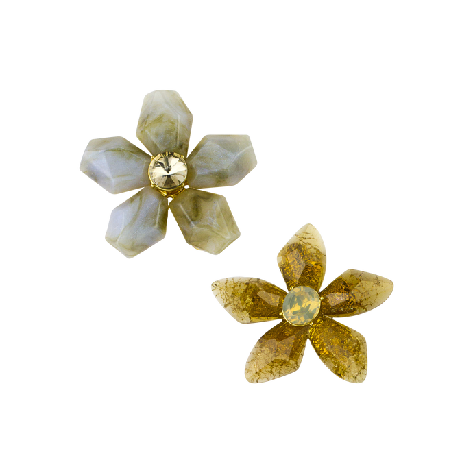 Set of 2 Organic Flower Brooches - John Wind Modern Vintage Jewelry