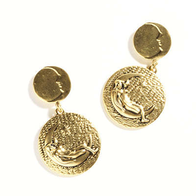 """Lady in the Moon"" Earrings, Gold or Silver"