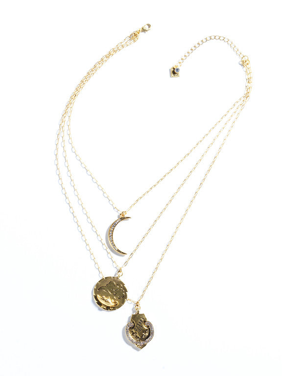 Layered Vintage Medallion Necklace, Gold or Silver