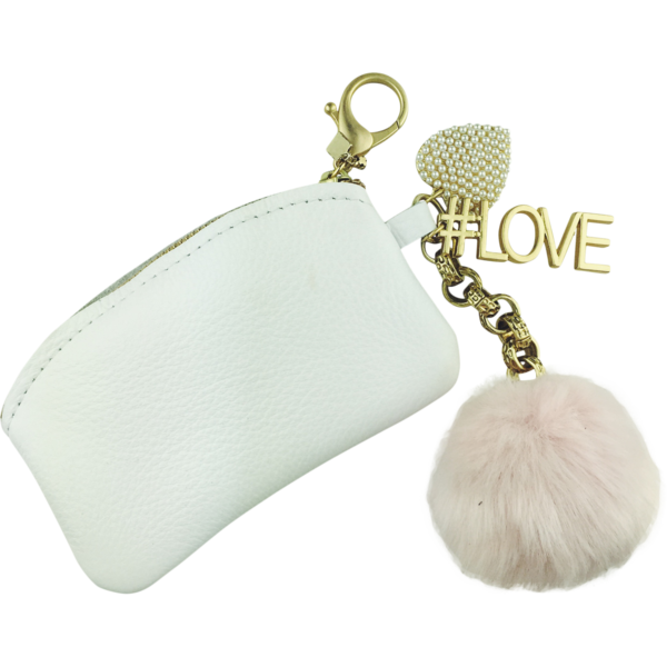 #LOVE Pom Pom Coin Purse, White