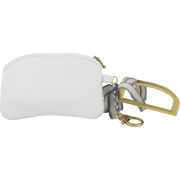 Ribbon Initial Charm Coin Purse, White