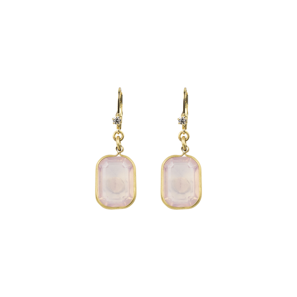 "1"" Emerald Cut Rosewater Crystal Earring (M3)"