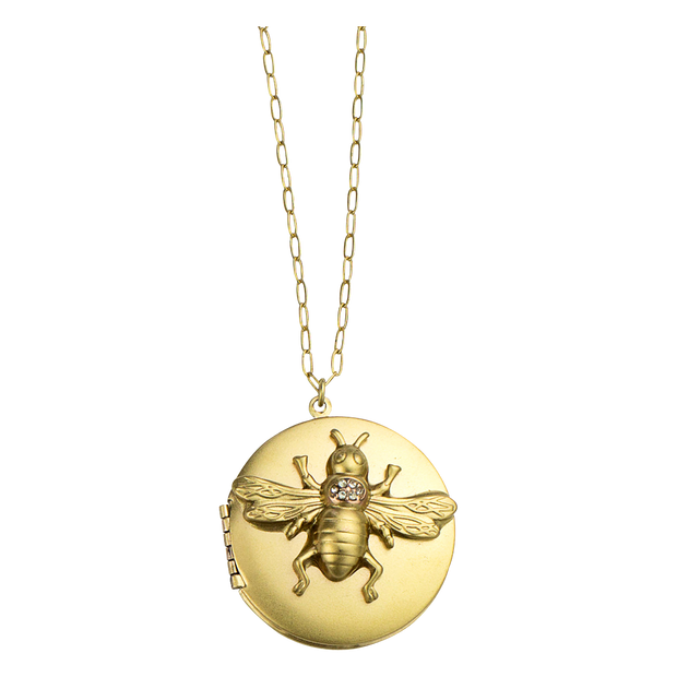 "30"" Bee Locket Necklace, Gold"