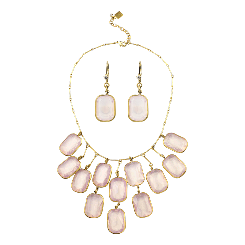 Rosewater Crystal Bib Necklace & Earring Gift Set - John Wind Modern Vintage Jewelry - 1