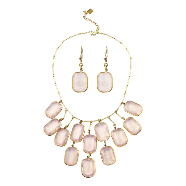 Rosewater Crystal Bib Necklace & Earring Gift Set