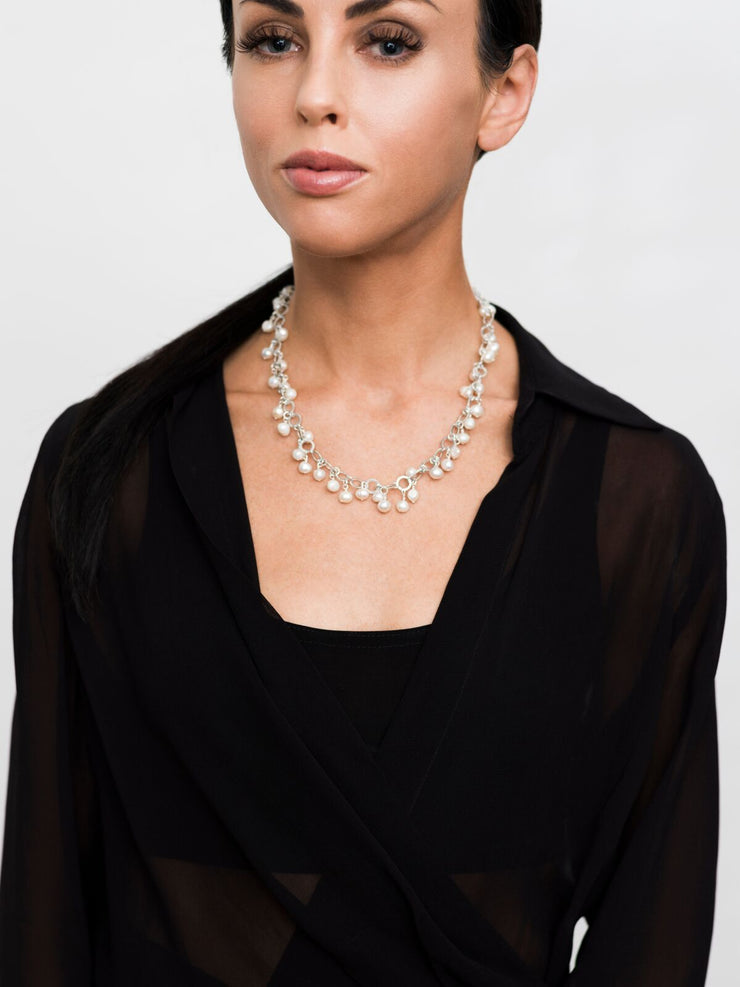 Endless Pearls Necklace, Gold or Silver