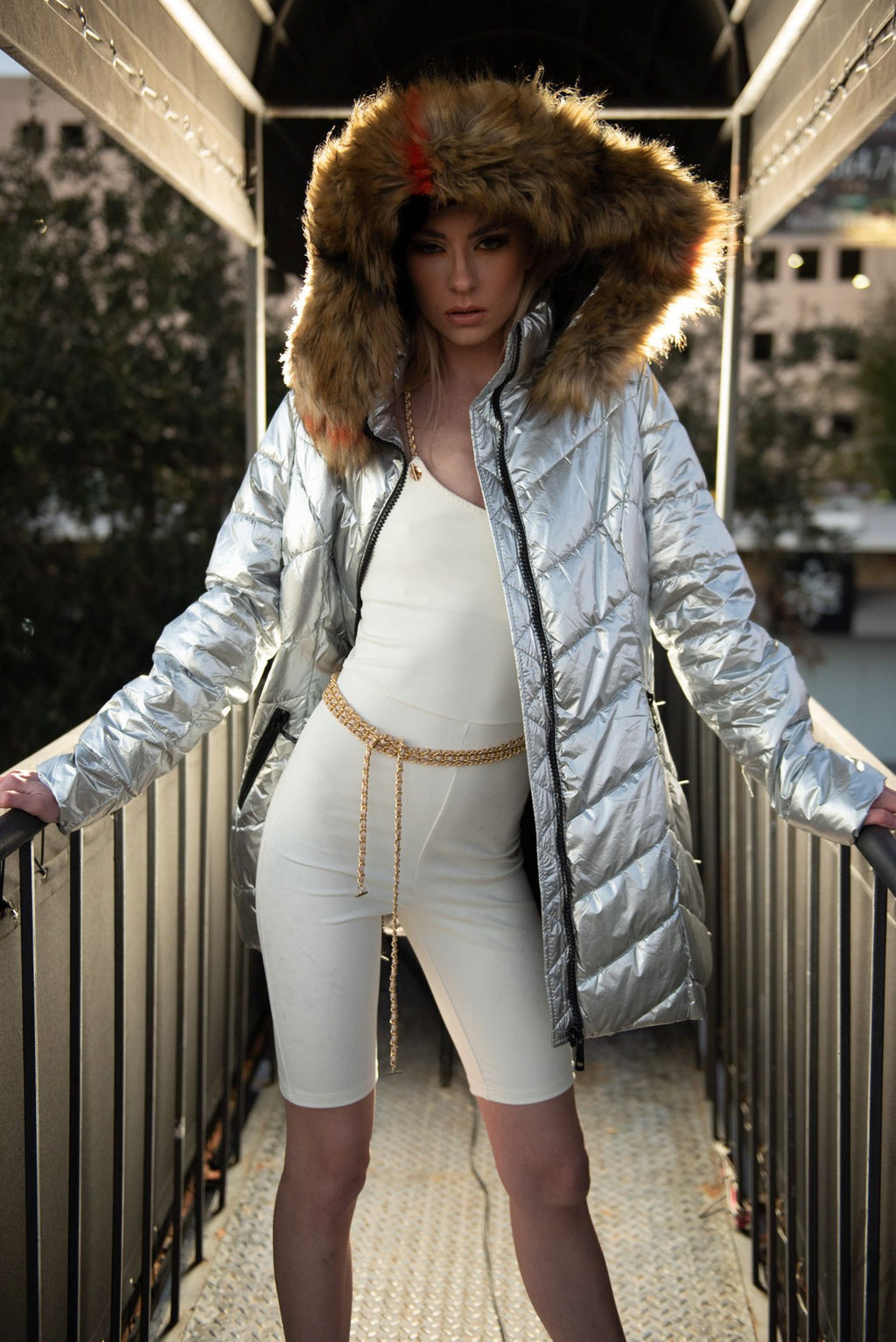 Hooded Faux Fur-Lined Metalic Quilted Coat