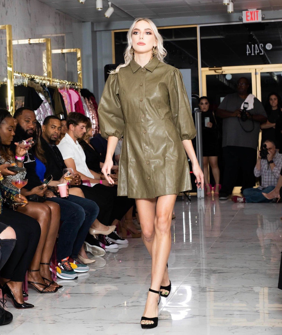 Olive Puff Sleeve Leather Dress