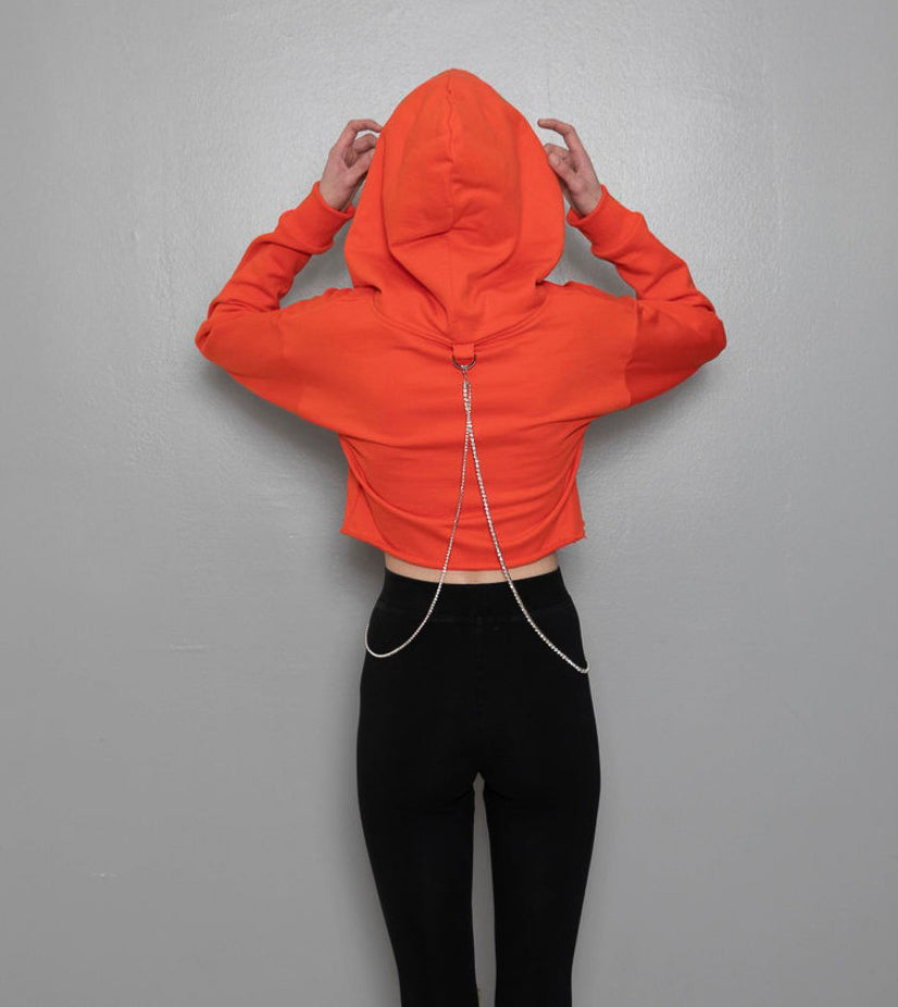 Sunset Orange Cropped  Hoodie