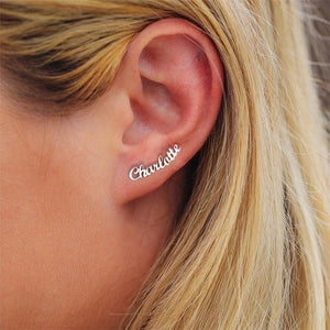 14K Silver Name Stud Earring