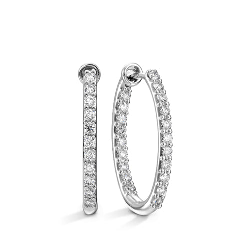 Hearts  On Fire Oval Classic Hoop Diamond Earrings