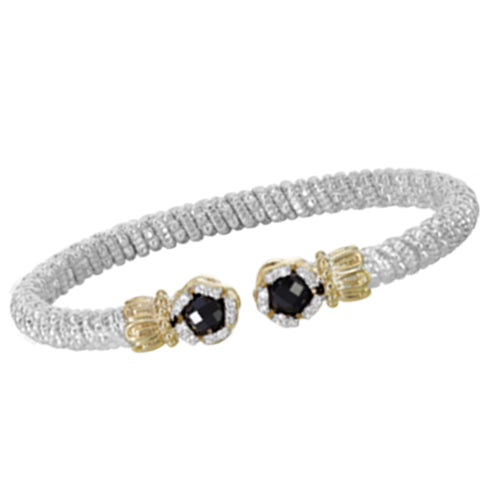 Vahan Black Onyx Gold & Sterling Silver bangle