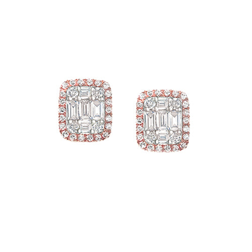Custom Invisible Baguette Diamond Stud Earrings