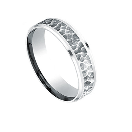 Mens Benchmark Hammer Finish Wedding Band