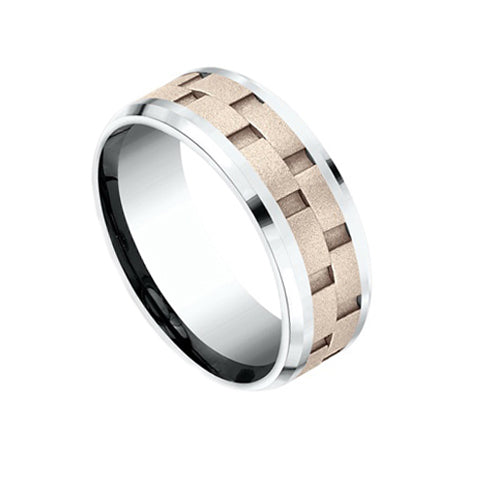 Mens Benchmark Chain Link Centre Wedding Band