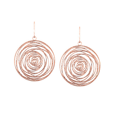 Custom Gold Spiral Disc Drop Earrings