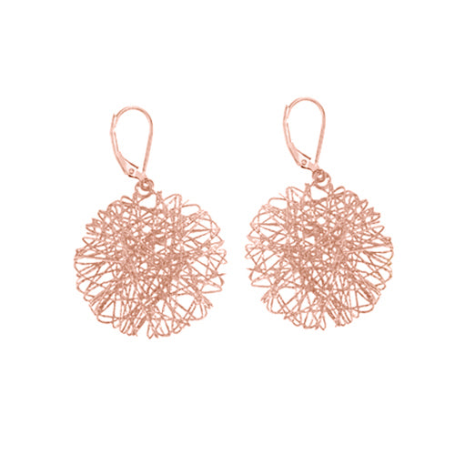 Custom Gold Weave Circle Drop Earrings