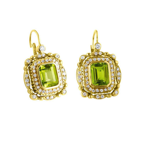 Drop Peridot & Diamond Retro Earrings